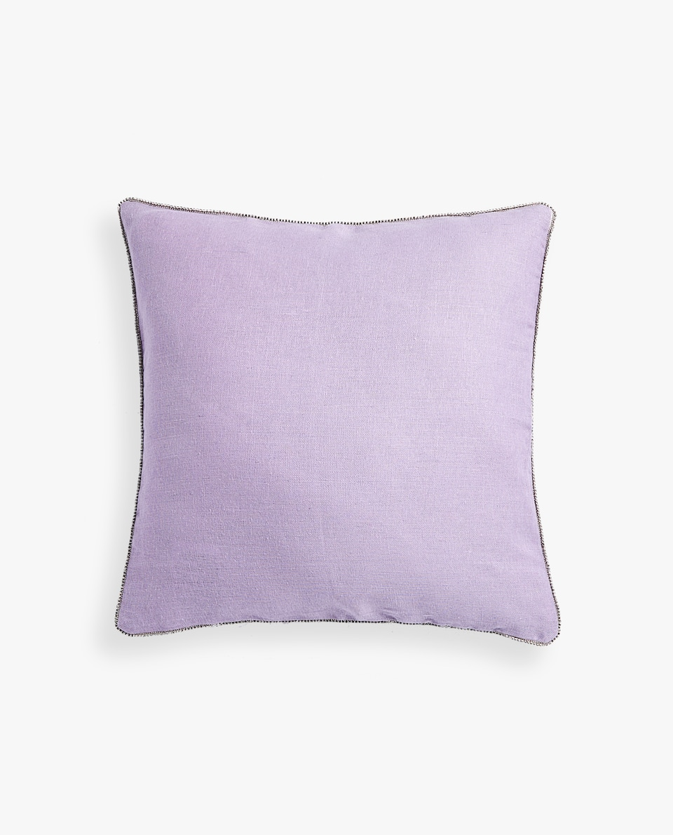 LINEN PILLOW COVER WITH RHINESTONES