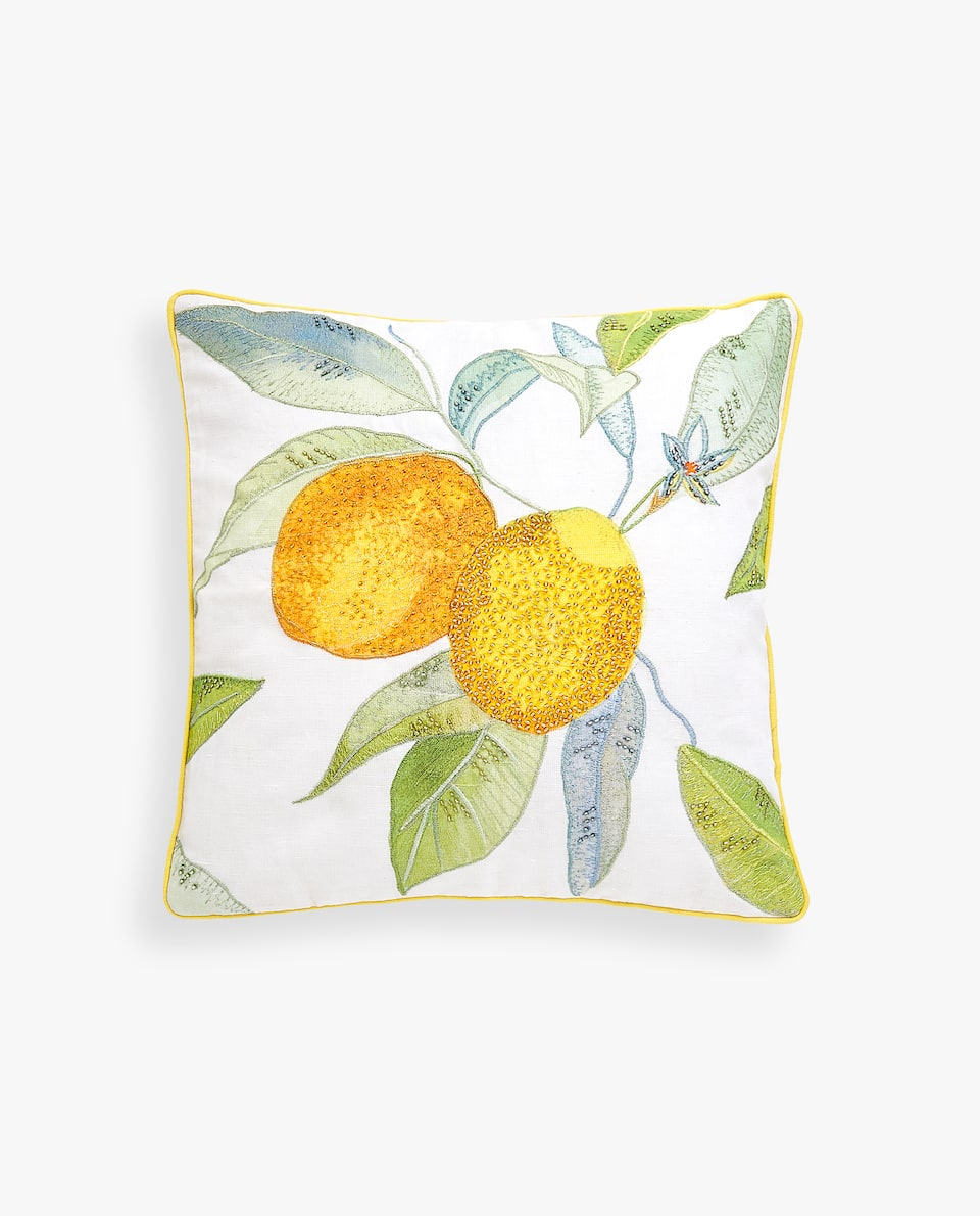 LEMON PRINT THROW PILLOW