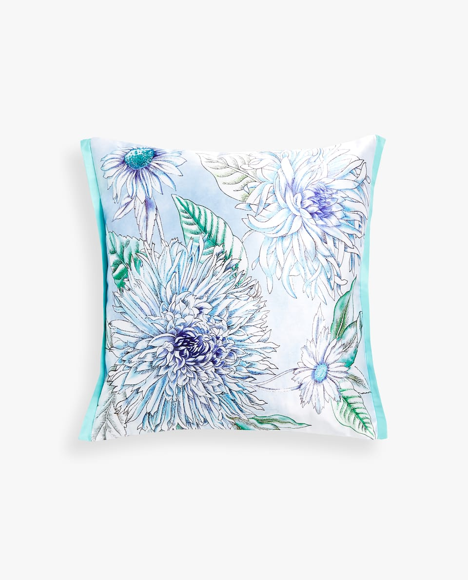 FLORAL SATEEN PILLOW COVER