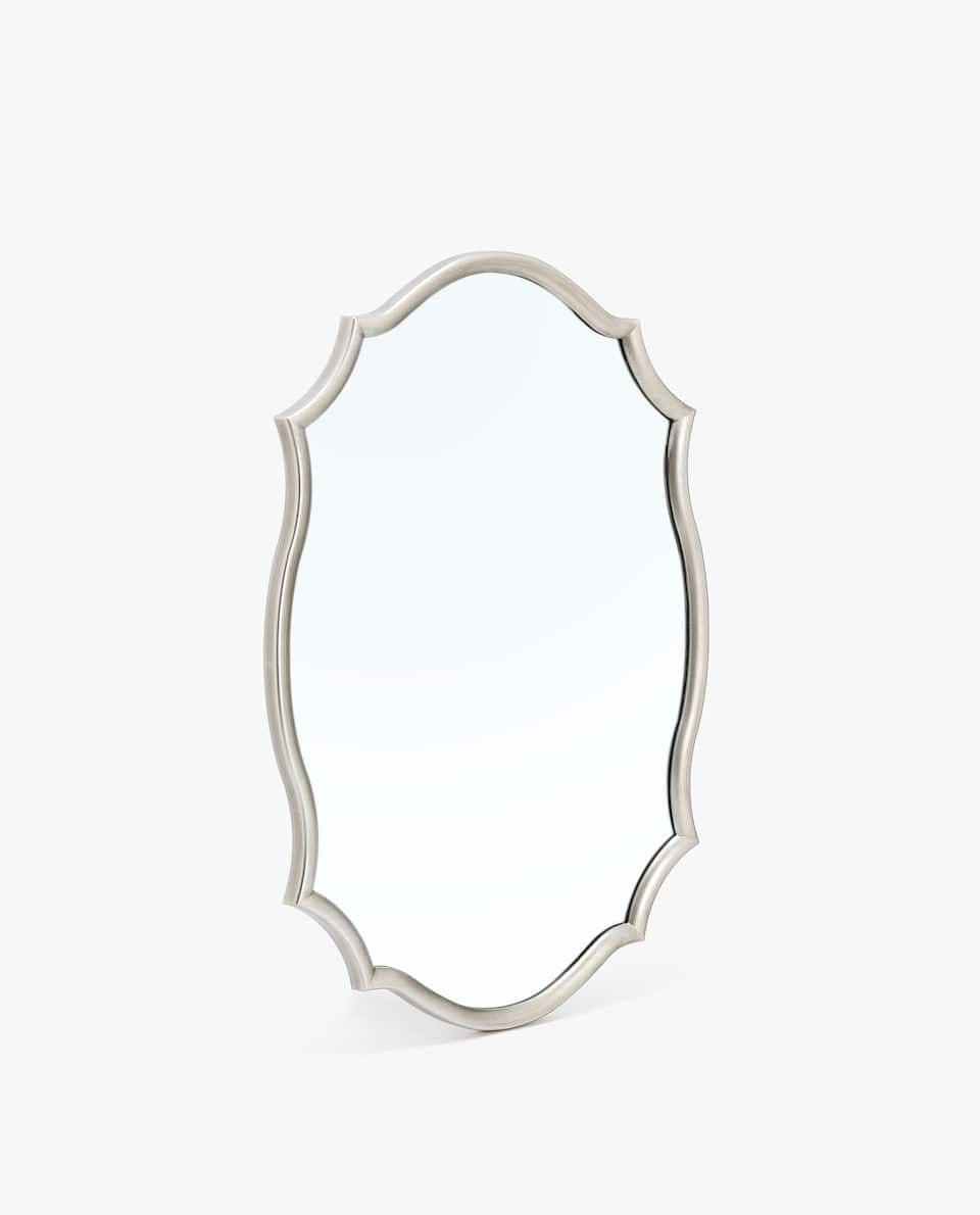 SILVER-TONED WAVY BORDER MIRROR