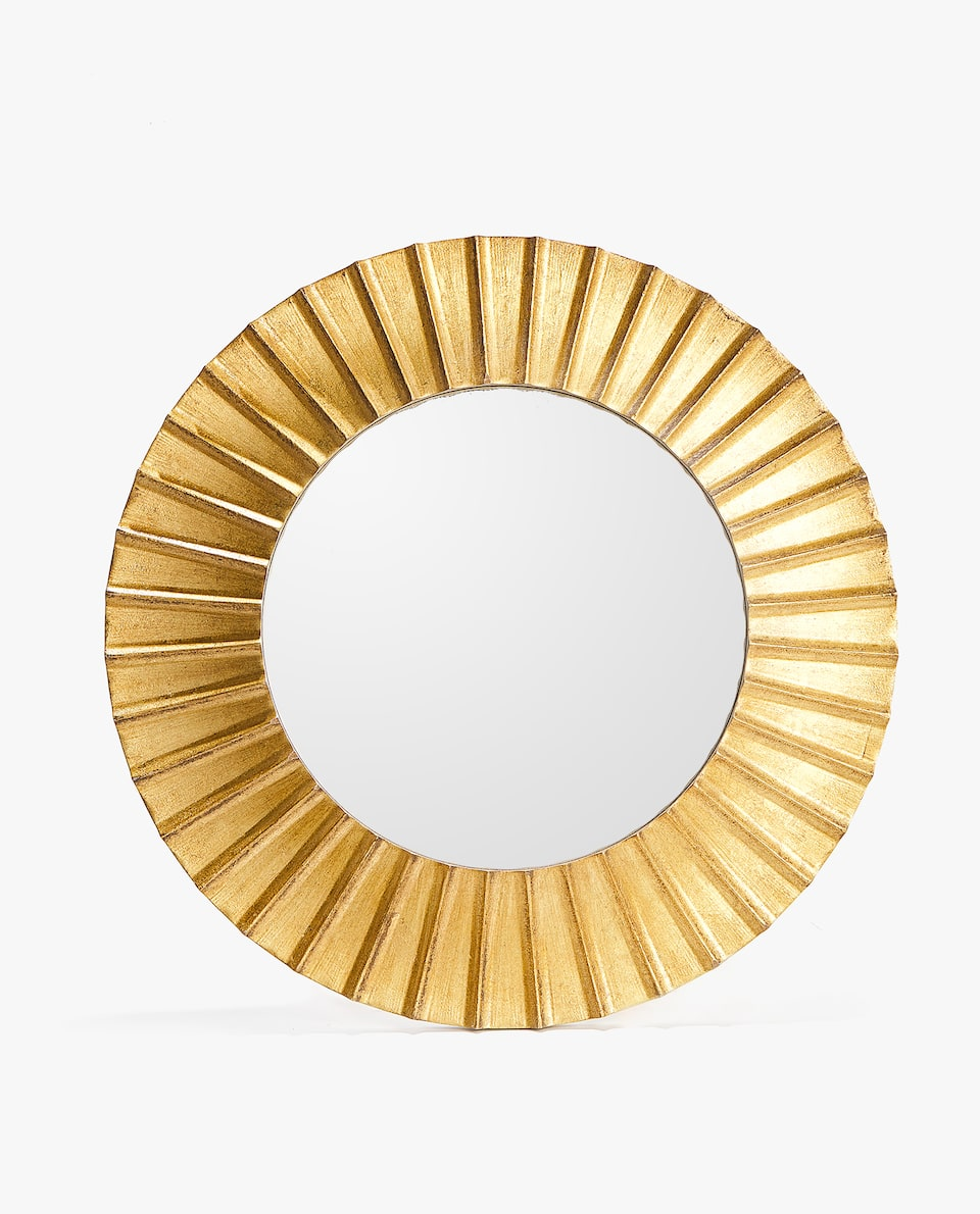 ROUND GOLDEN RAISED DESIGN MIRROR