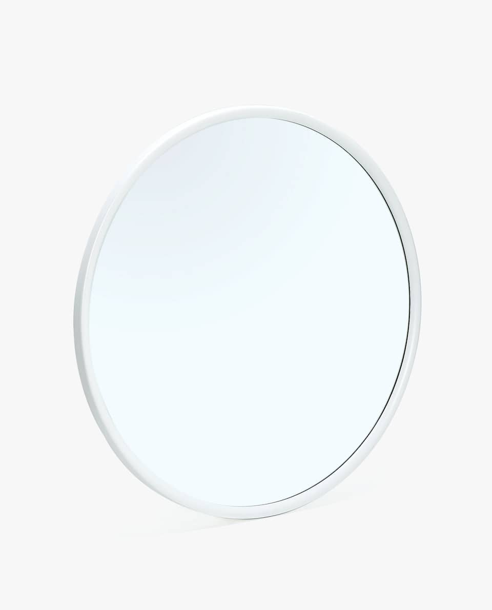 ROUND MIRROR WITH WHITE FRAME