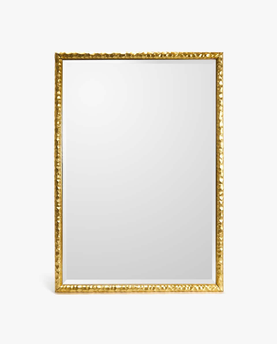 RECTANGULAR GOLDEN RAISED DESIGN MIRROR