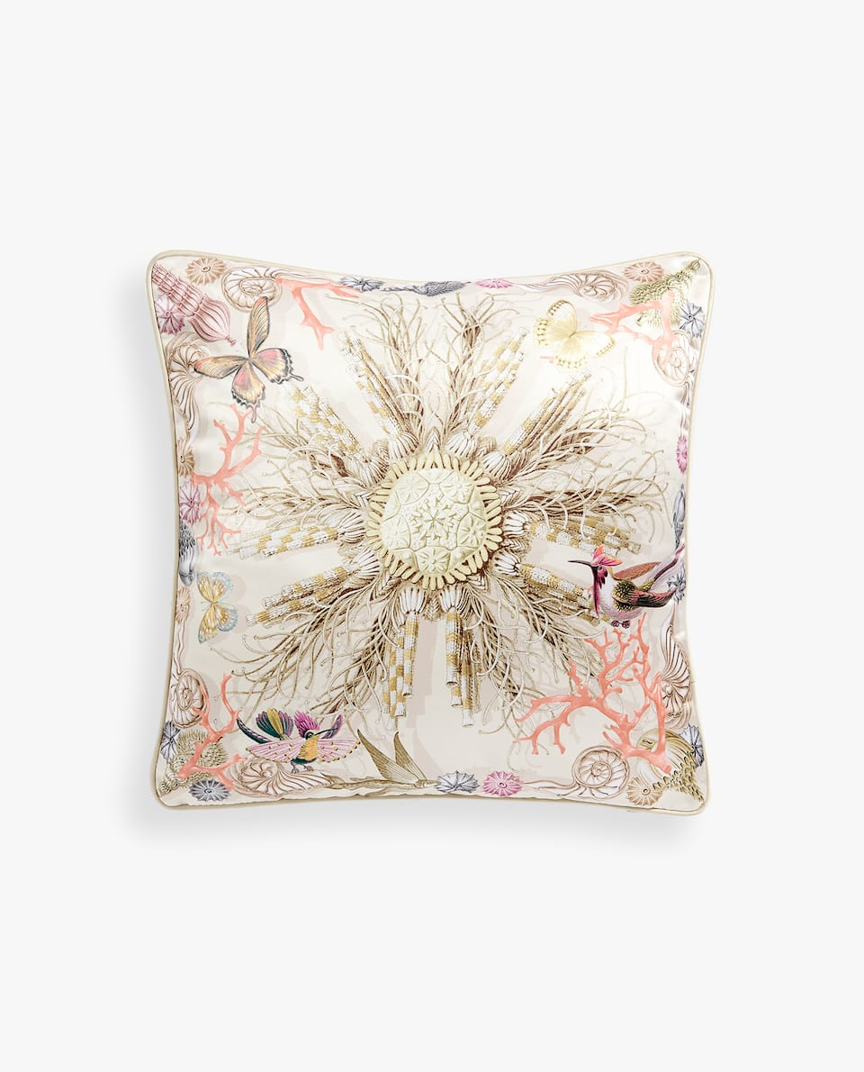 CORAL SATEEN CUSHION COVER