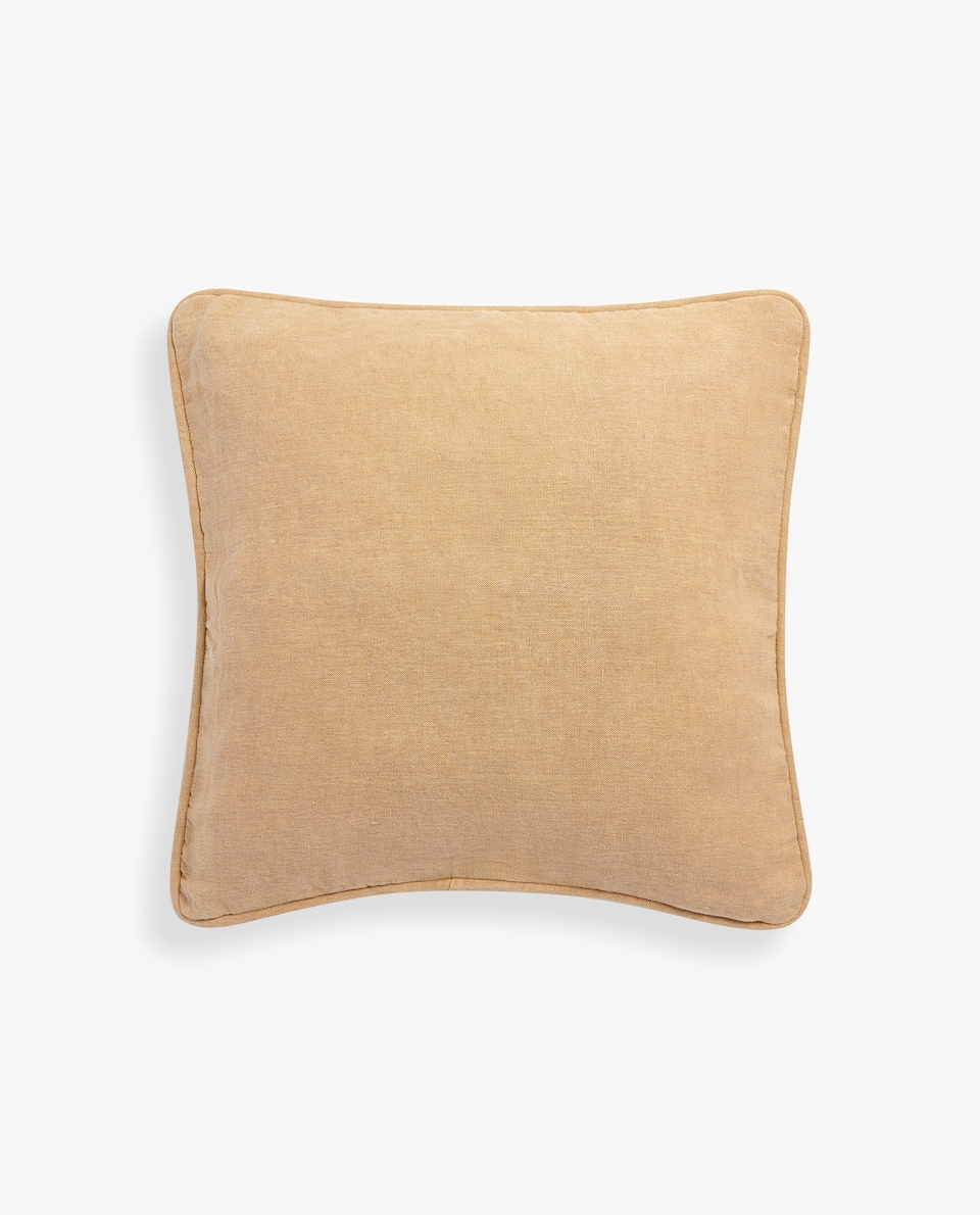 LINEN THROW PILLOW COVER WITH PIPING