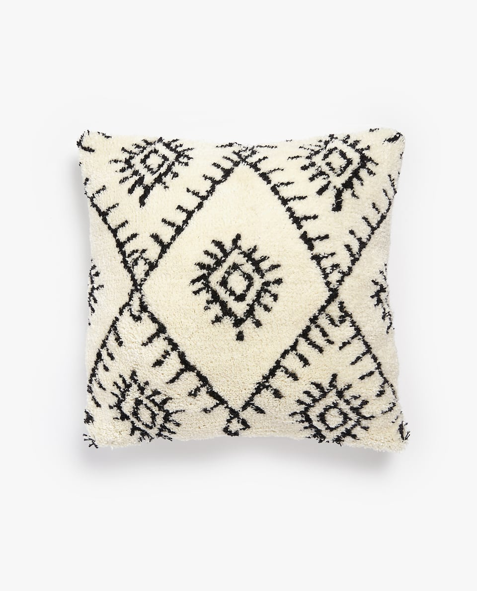 COTTON THROW PILLOW COVER WITH GEOMETRIC DESIGN