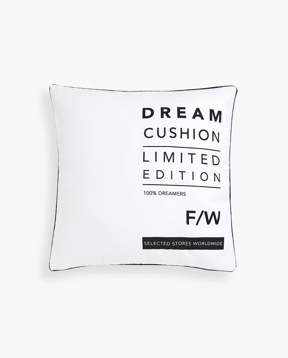 SLOGAN CUSHION COVER