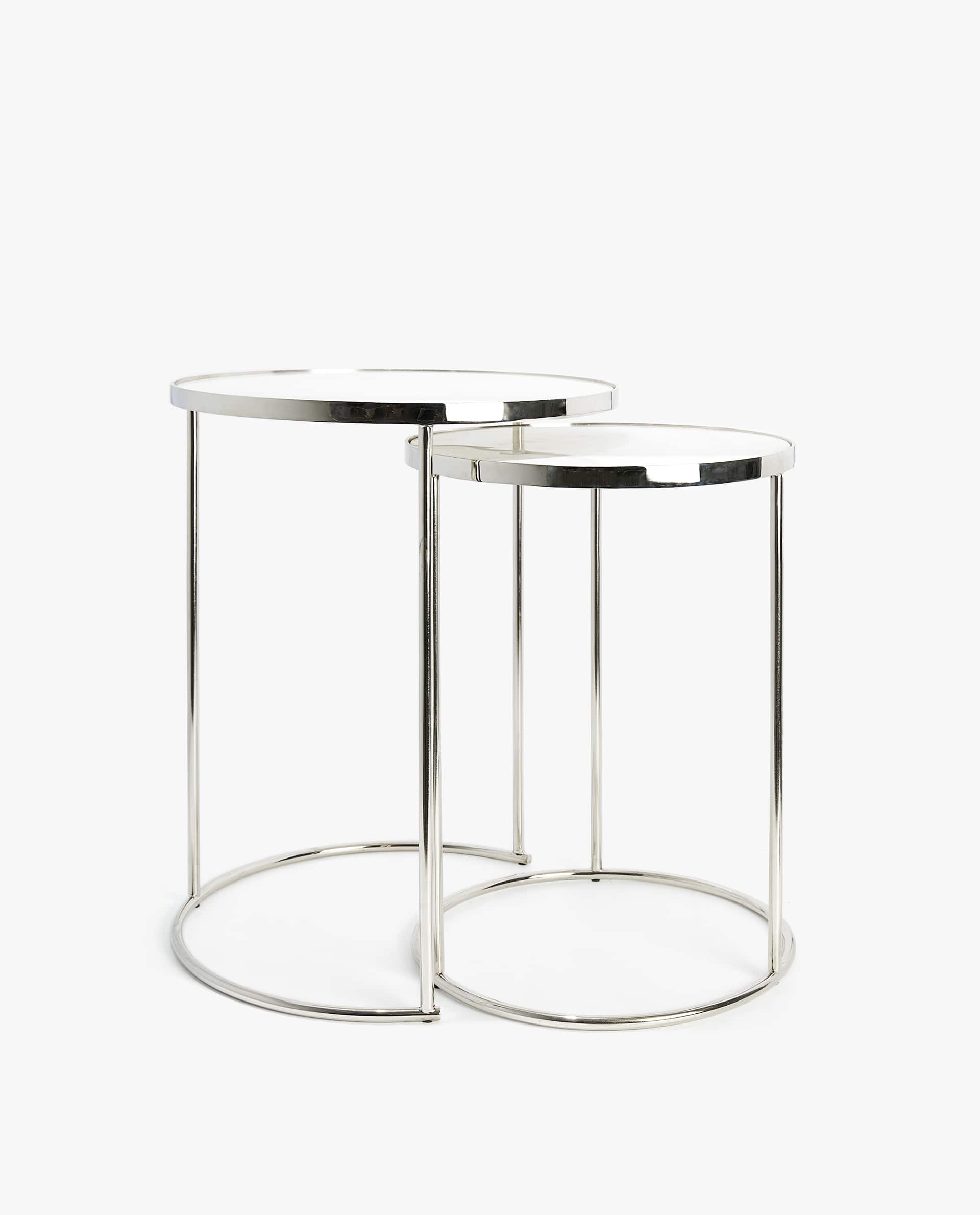 Silver Marble Nest Of Tables Set 2