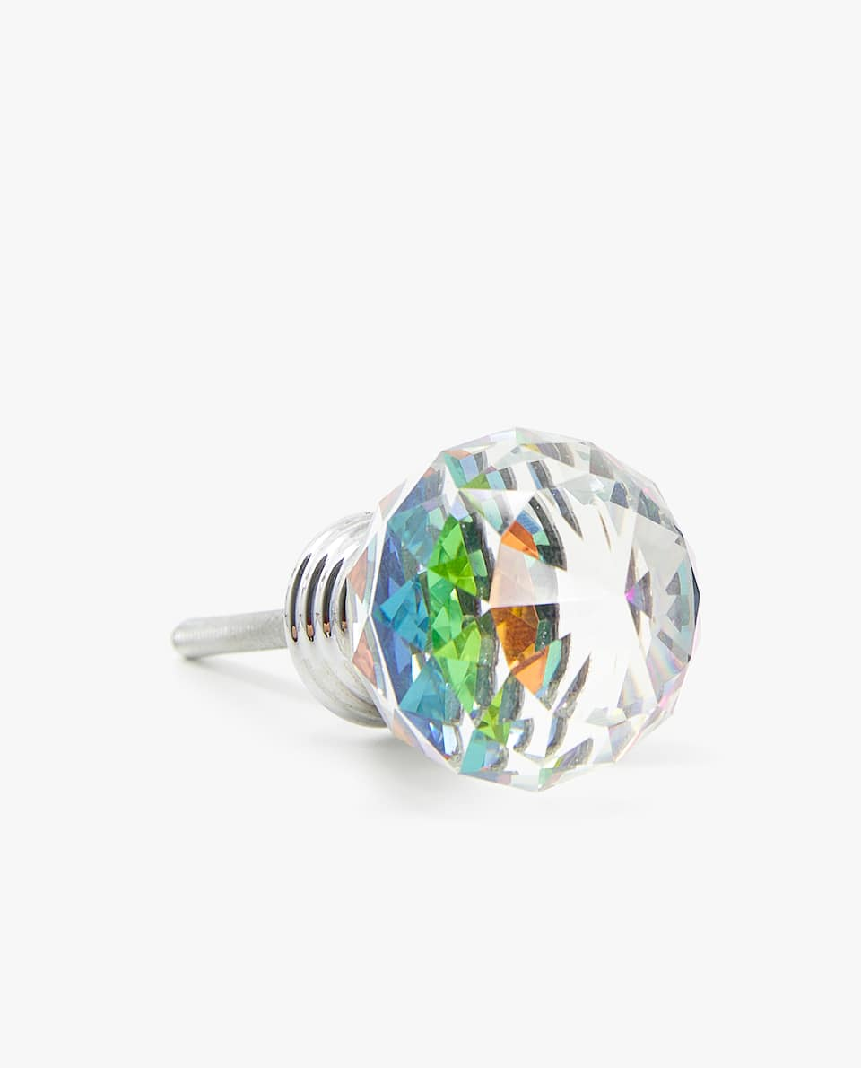 MULTICOLOURED CRYSTAL DOOR KNOB (PACK OF 2)