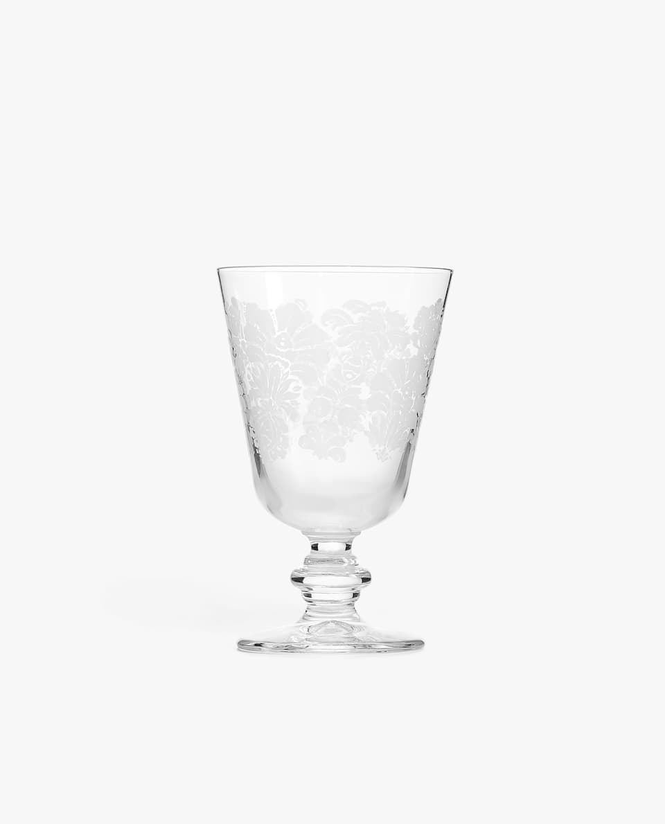 FLORAL SCREEN-PRINTED WINE GLASS