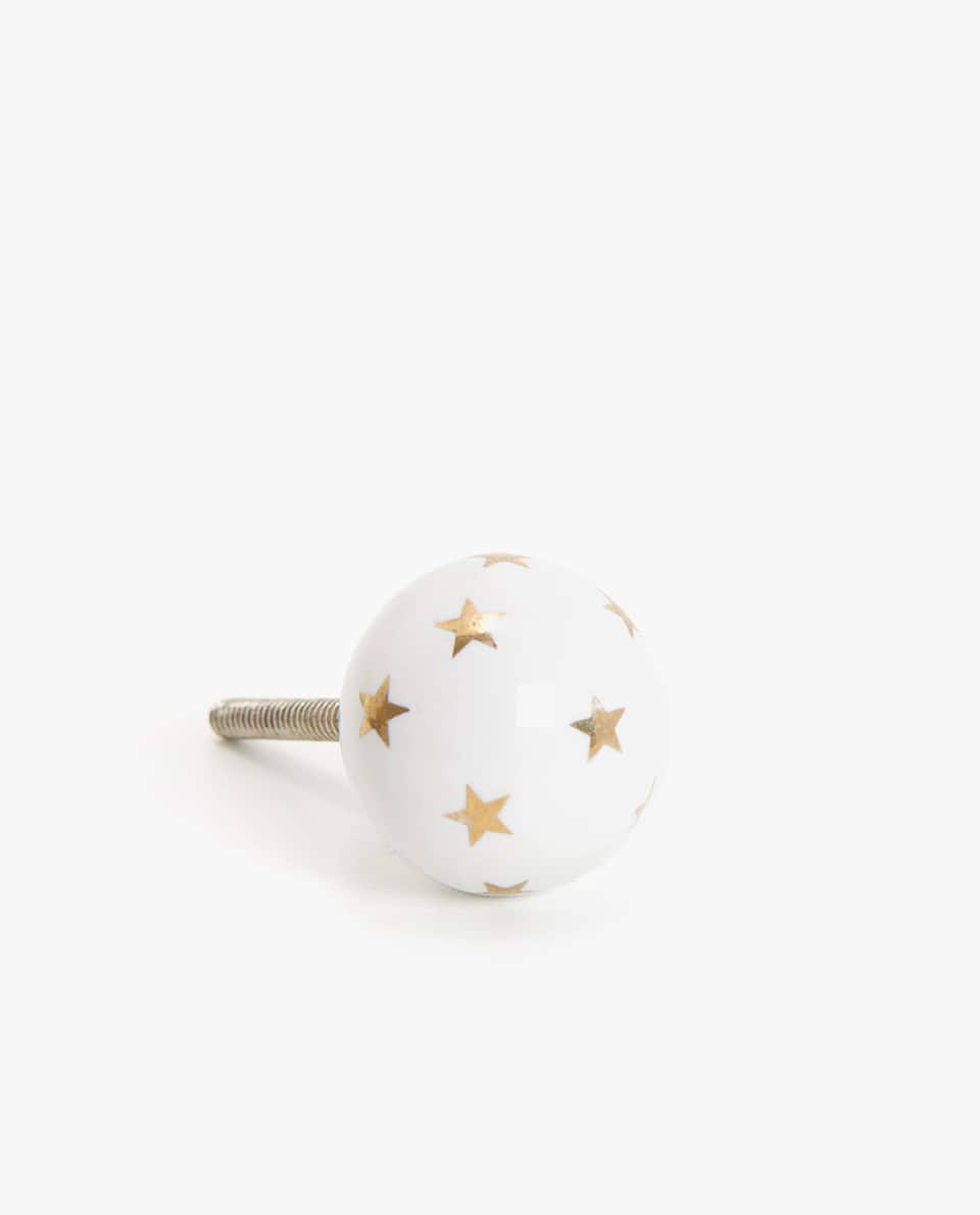 CERAMIC DOOR KNOB WITH STAR PRINT (PACK OF 2)