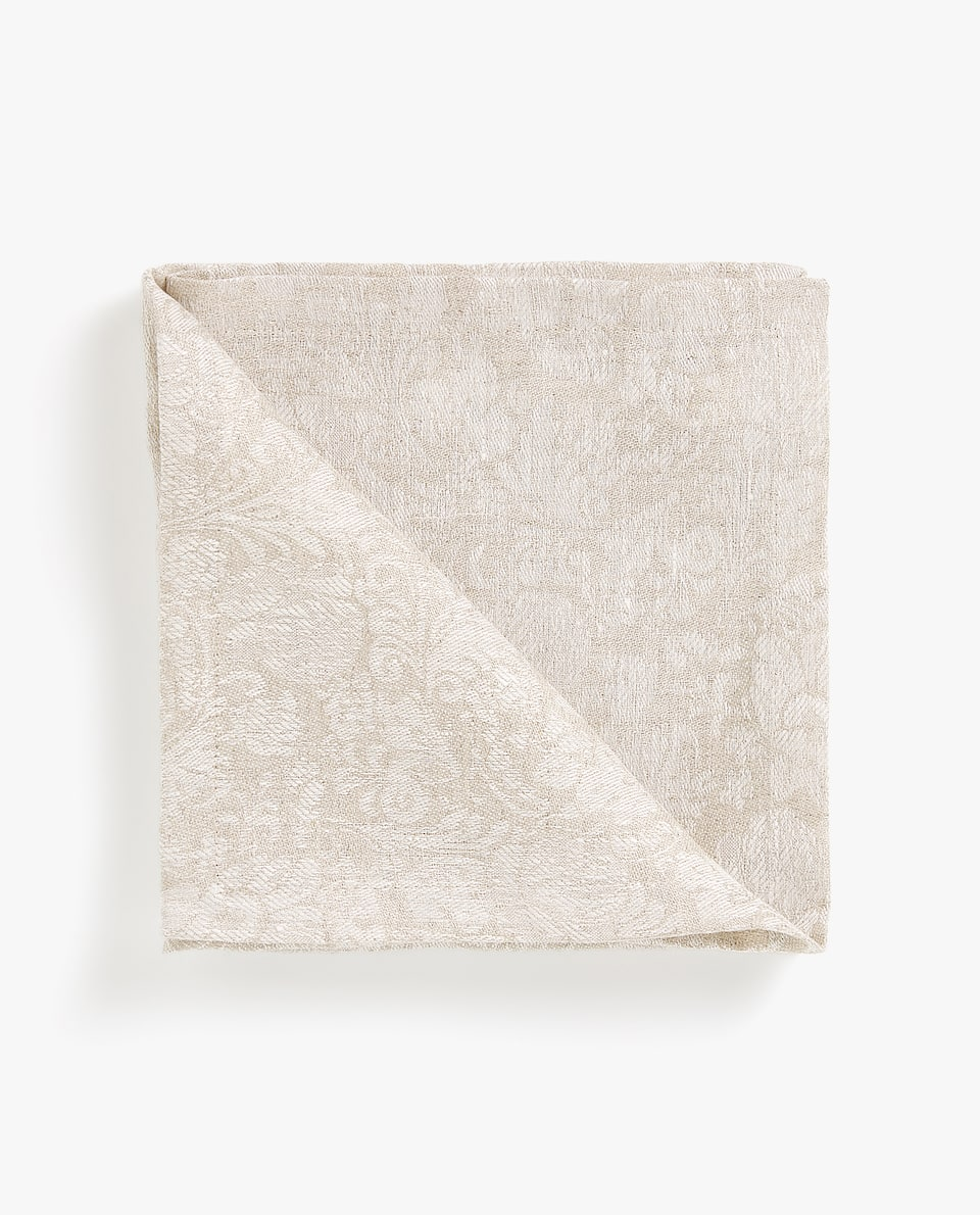 LINEN NAPKIN WITH LACE TRIM (PACK OF 4)