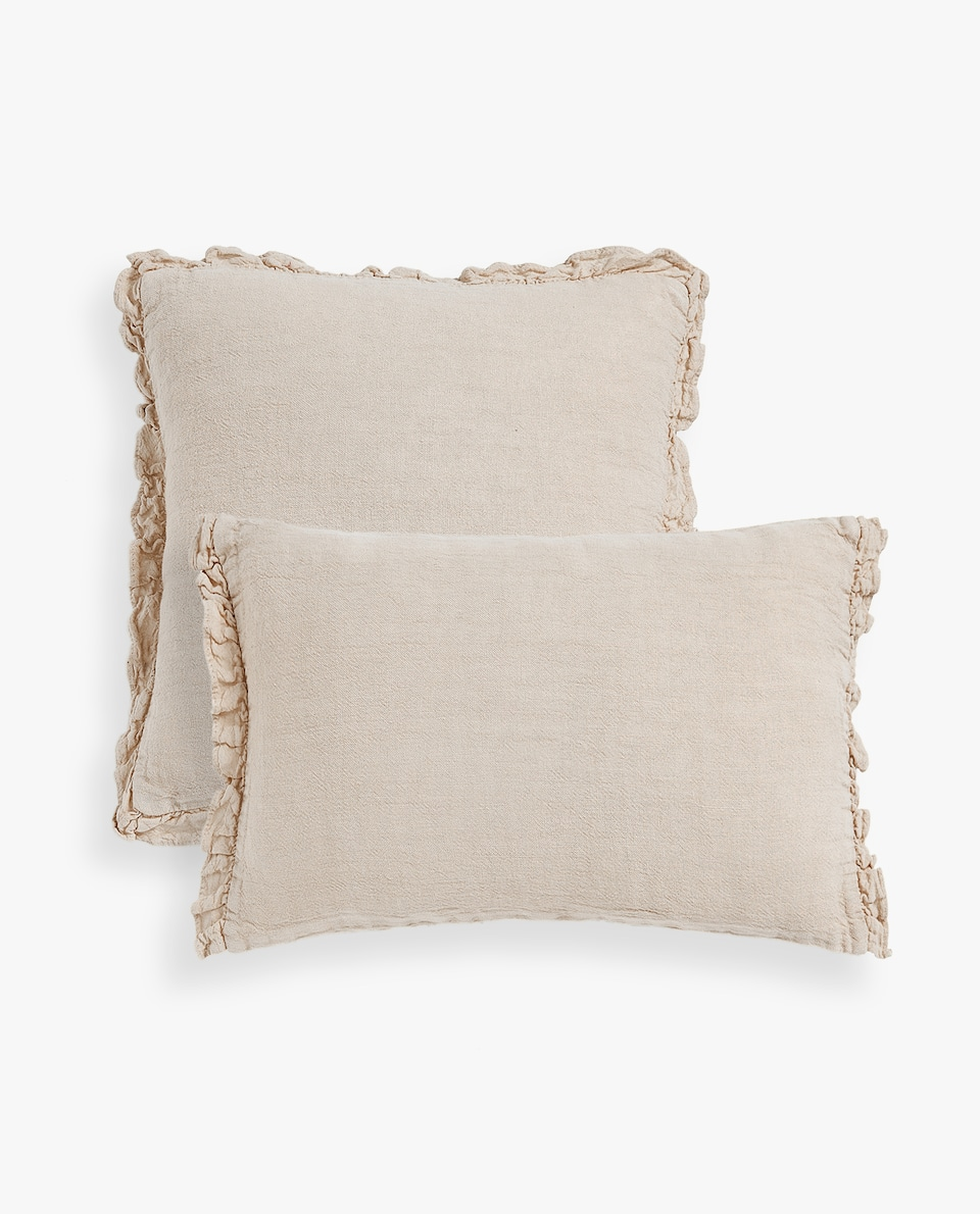 LINEN THROW PILLOW COVER WITH FRILL