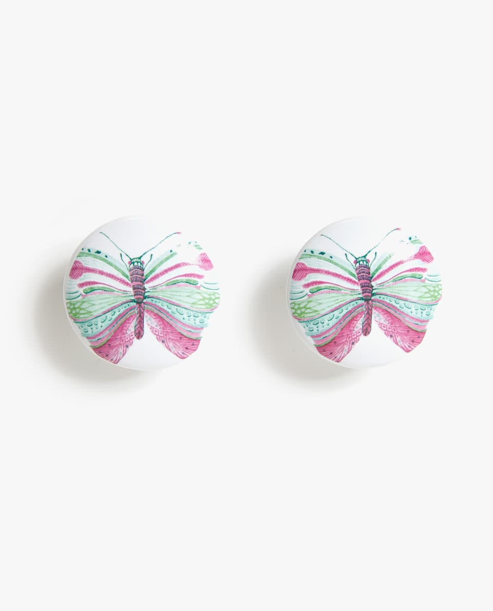 CERAMIC DOOR KNOB WITH BUTTERFLY DESIGN (PACK OF 2)