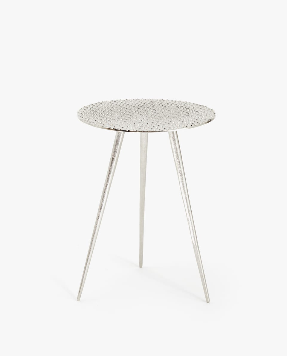 METAL TABLE WITH RAISED DOTS
