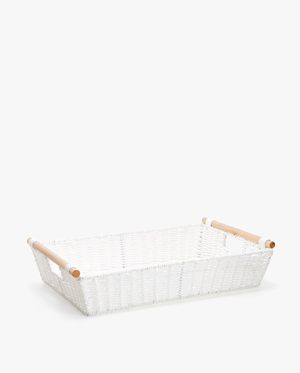 RECTANGULAR TRAY WITH WOODEN HANDLES