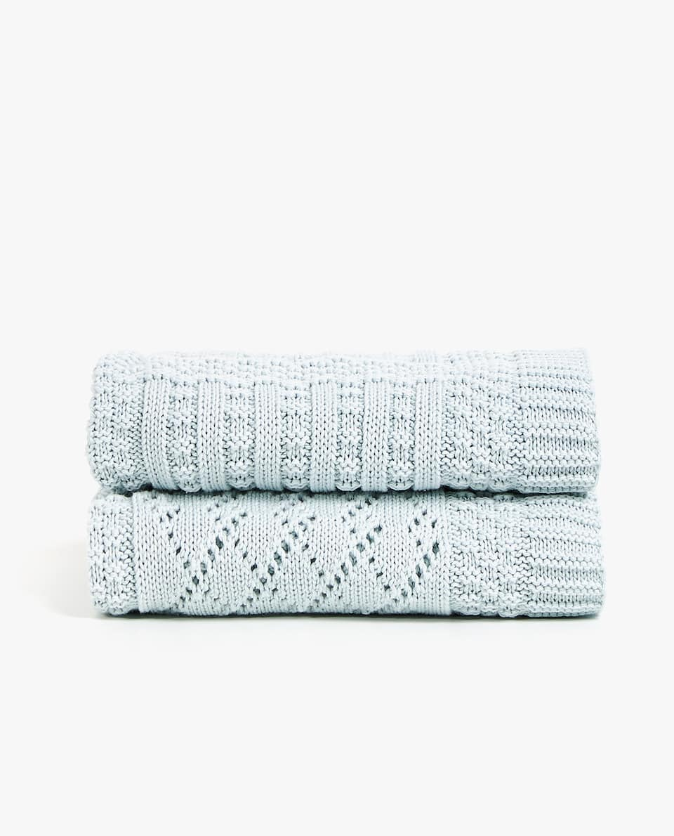 CHECKED KNIT COTTON BLANKET