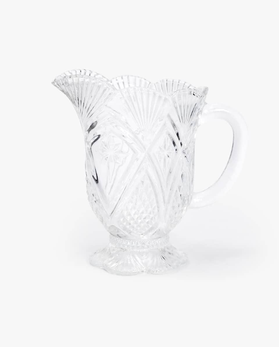 ENGRAVED GLASS MILK JUG