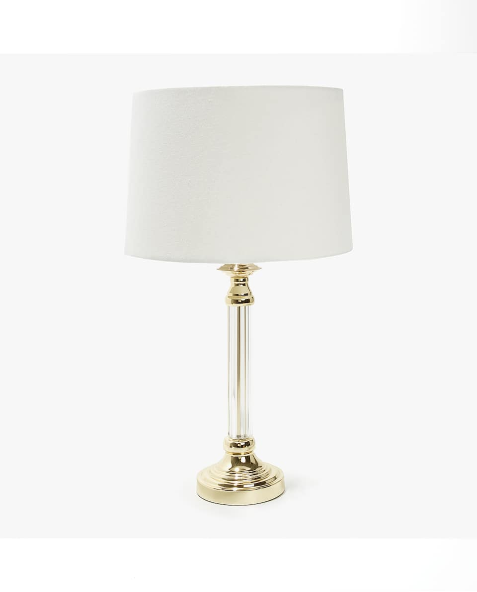 LAMP WITH SILVER BASE AND CLEAR STAND