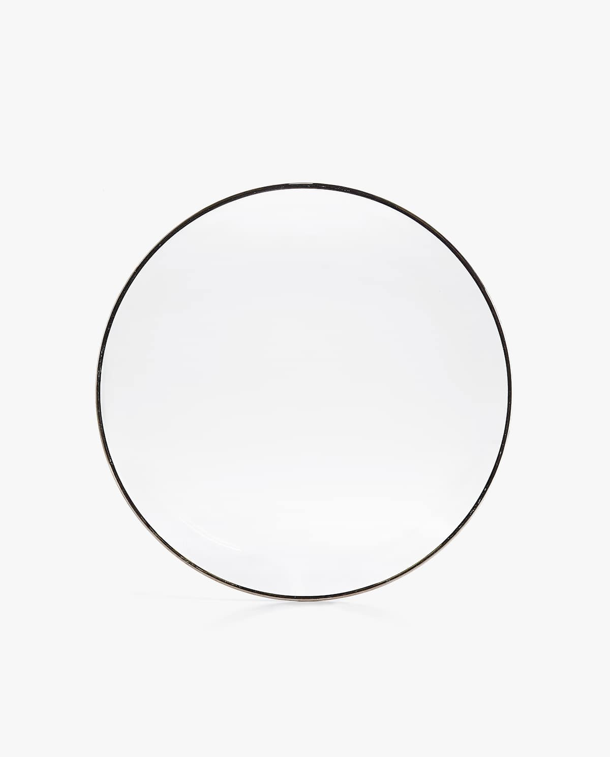 GLASS CHARGER PLATE WITH SILVER RIM