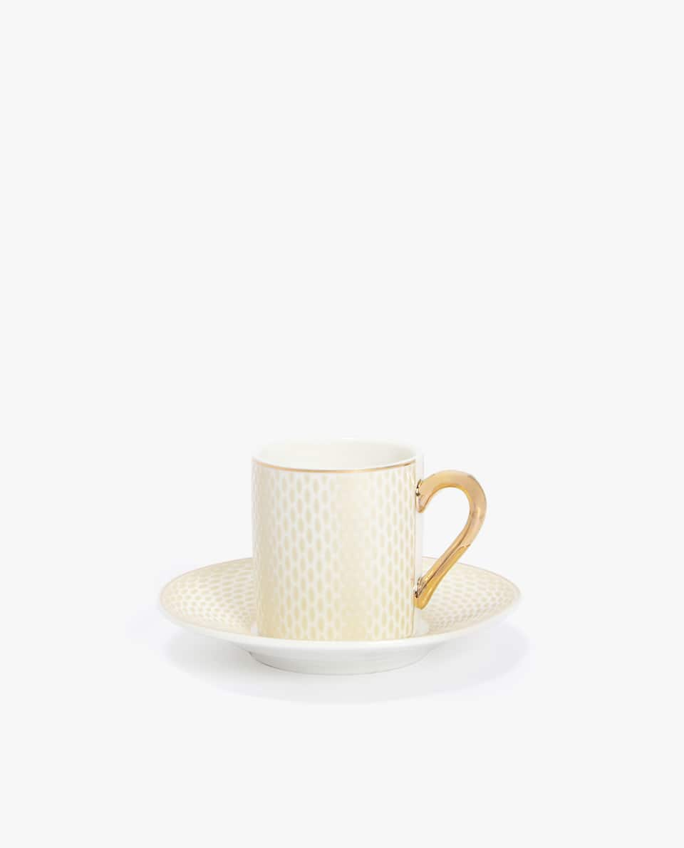 PORCELAIN COFFEE MUG AND SAUCER WITH RIM