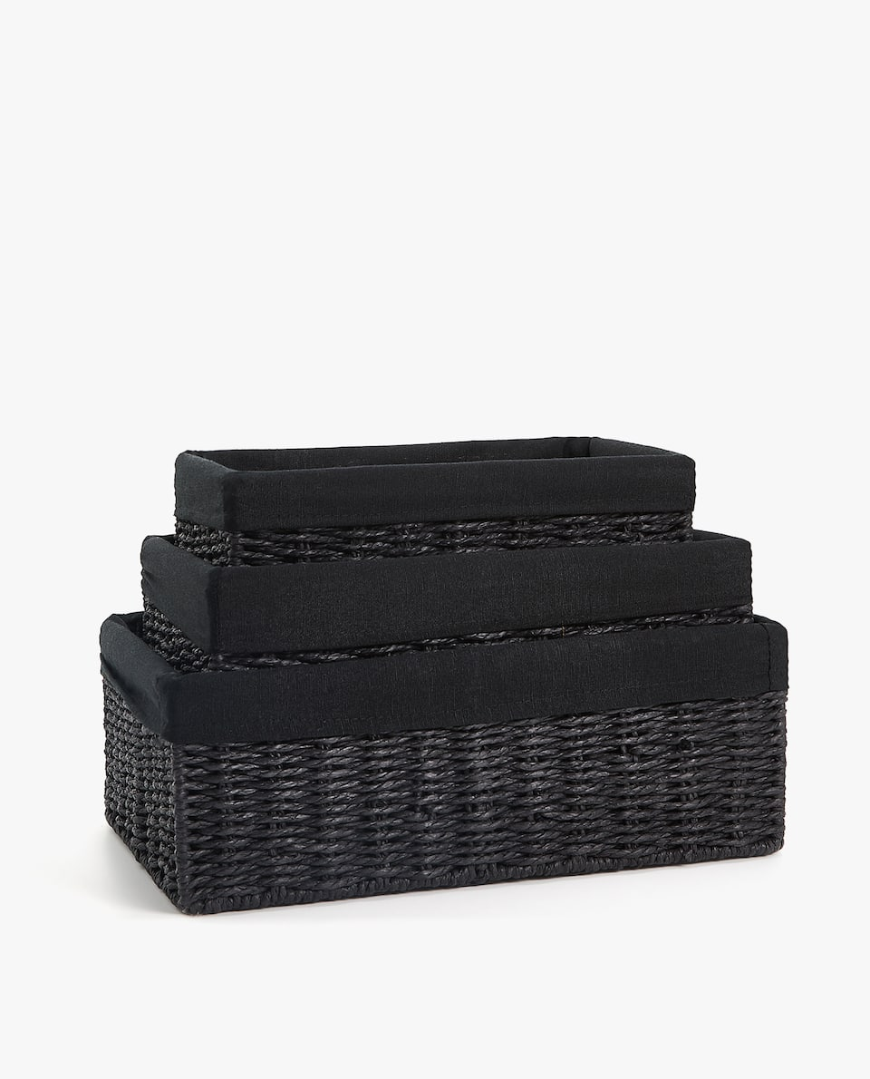 RECTANGULAR FABRIC-LINED BASKET