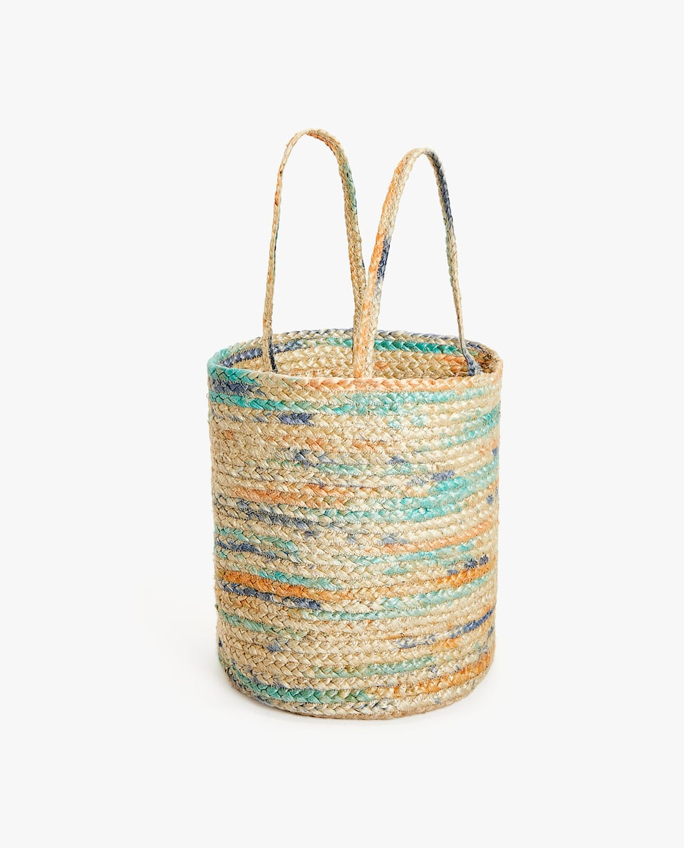 MULTICOLORED BASKET WITH HANDLES