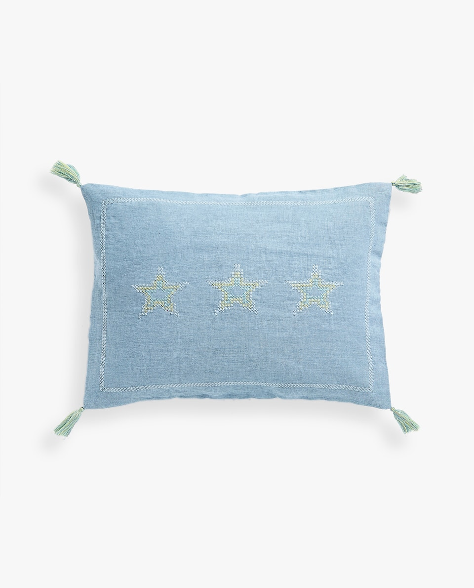 CUSHION COVER WITH EMBROIDERED STARS