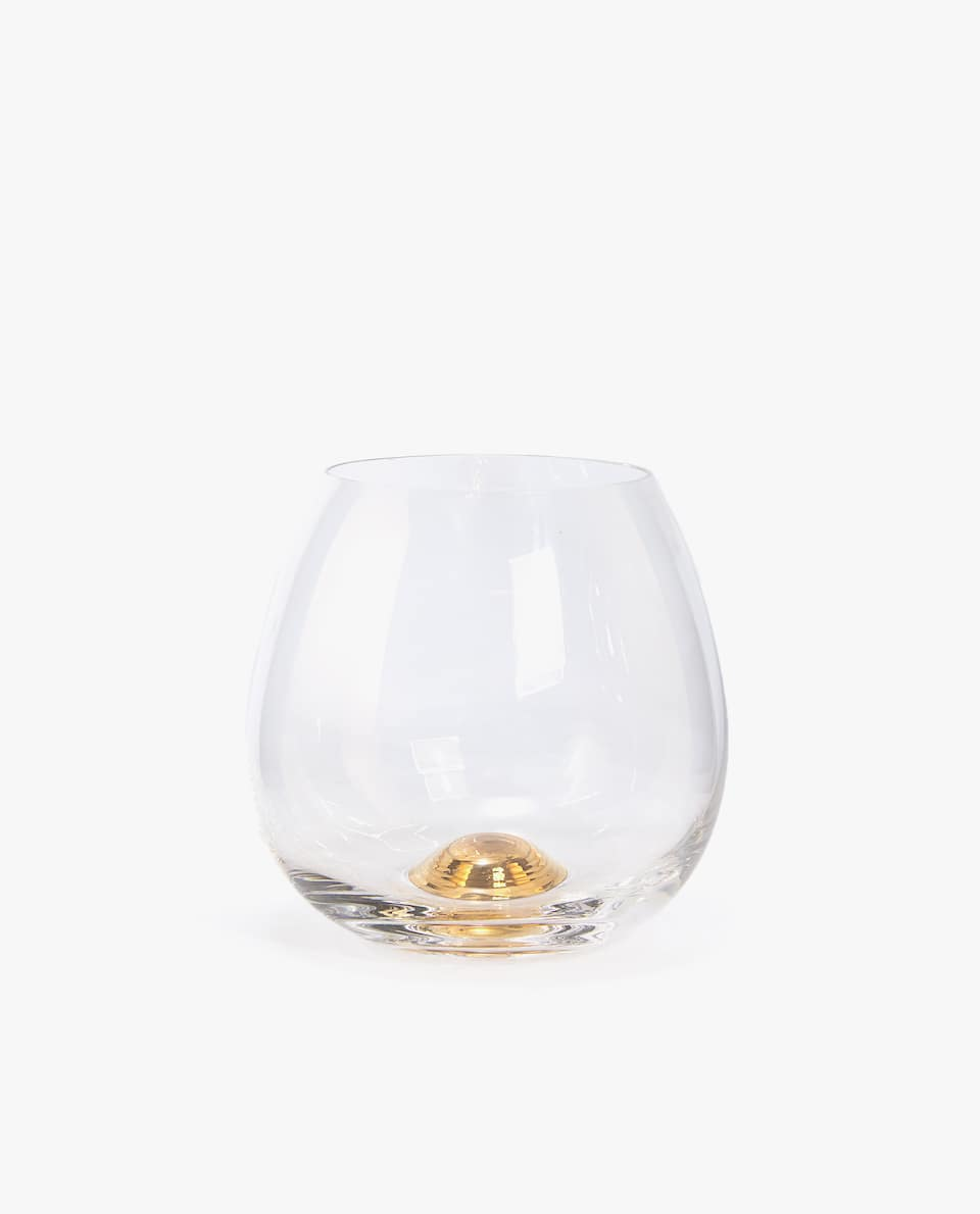 TUMBLER WITH GOLD SPHERE BASE