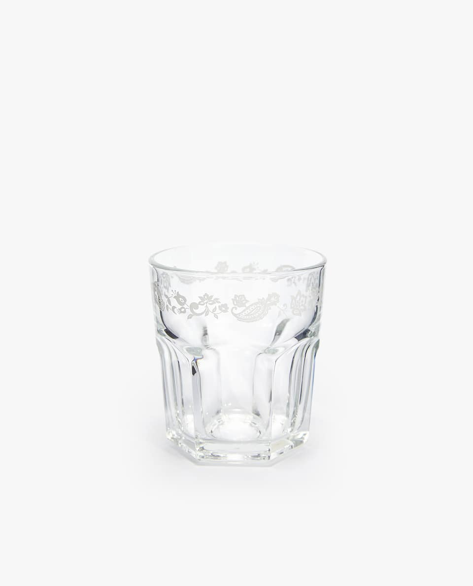 GLASS TUMBLER WITH FLORAL BORDER