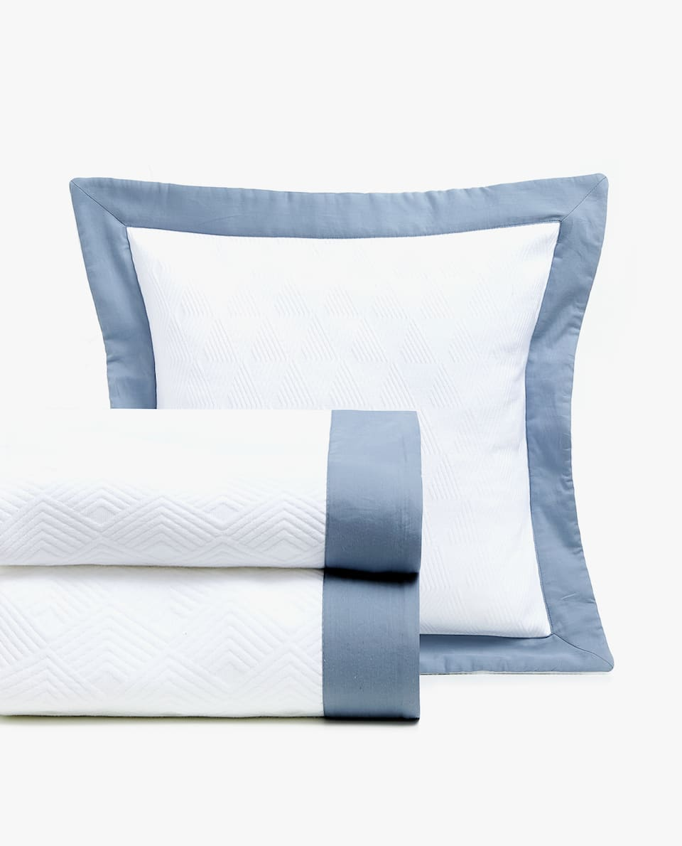 COTTON BEDSPREAD WITH CONTRASTING EDGE