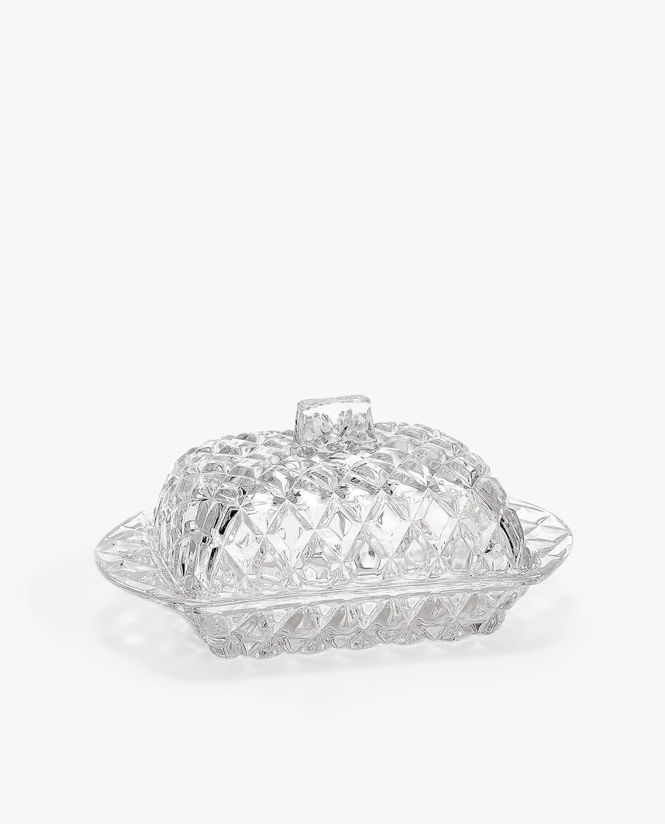 DIAMOND GLASS BUTTER DISH