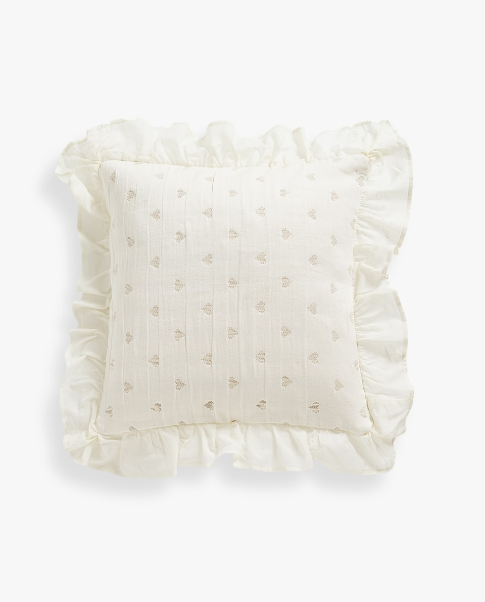 COTTON CUSHION COVER WITH RUFFLE TRIM