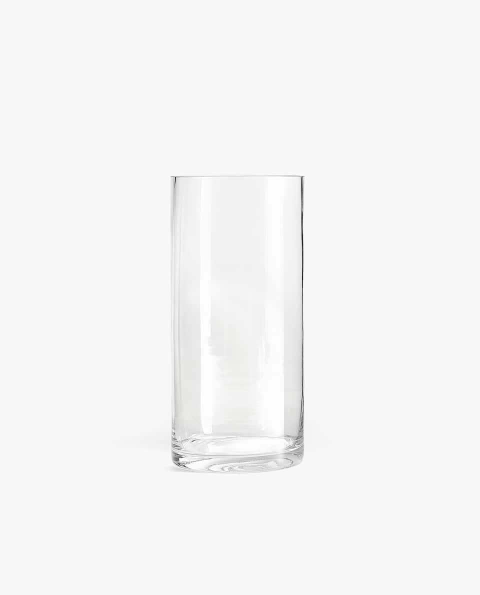 CYLINDRICAL GLASS VASE
