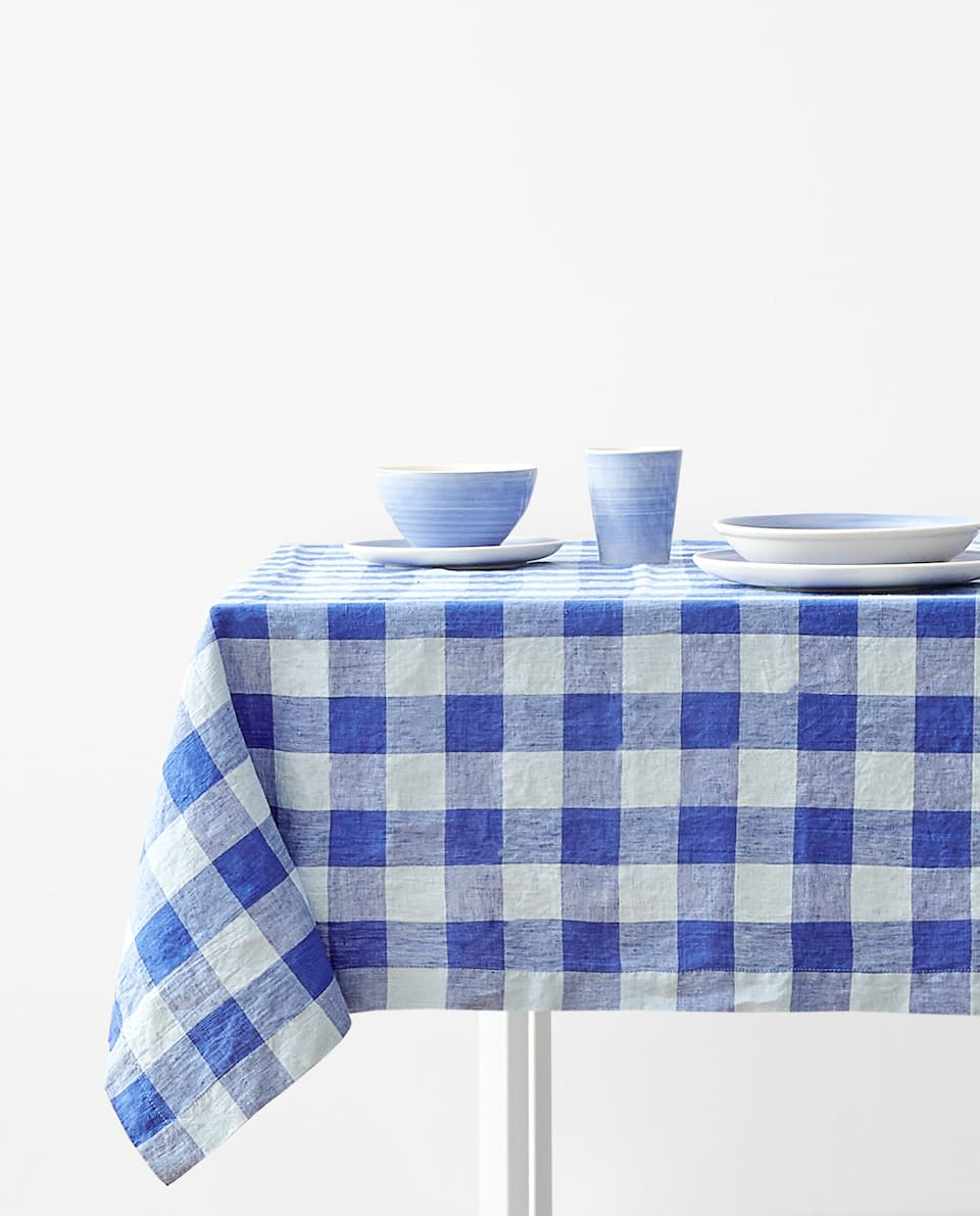 GINGHAM CHECK WASHED LINEN TABLECLOTH