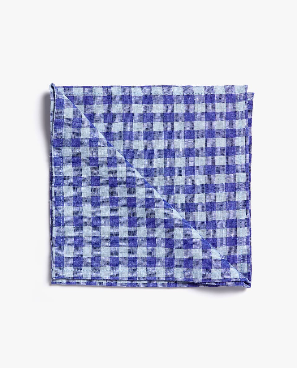 GINGHAM CHECK WASHED LINEN NAPKIN (SET OF 2)