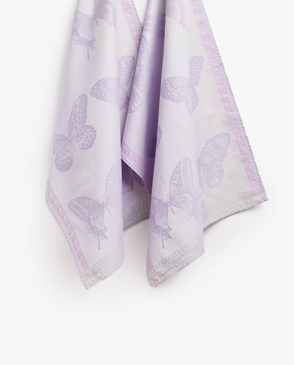 COTTON JACQUARD TEA TOWEL WITH BUTTERFLY MOTIFS (PACK OF 2)