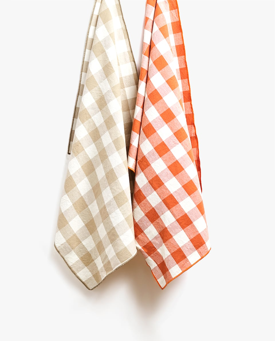 WASHED COTTON CHECK TEA TOWEL (PACK OF 2)