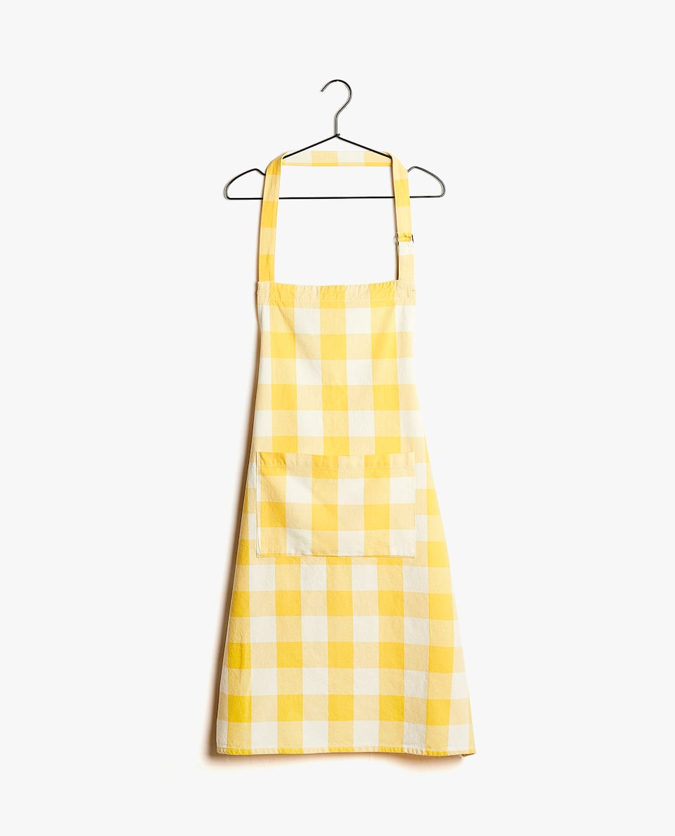 WASHED COTTON CHECK APRON