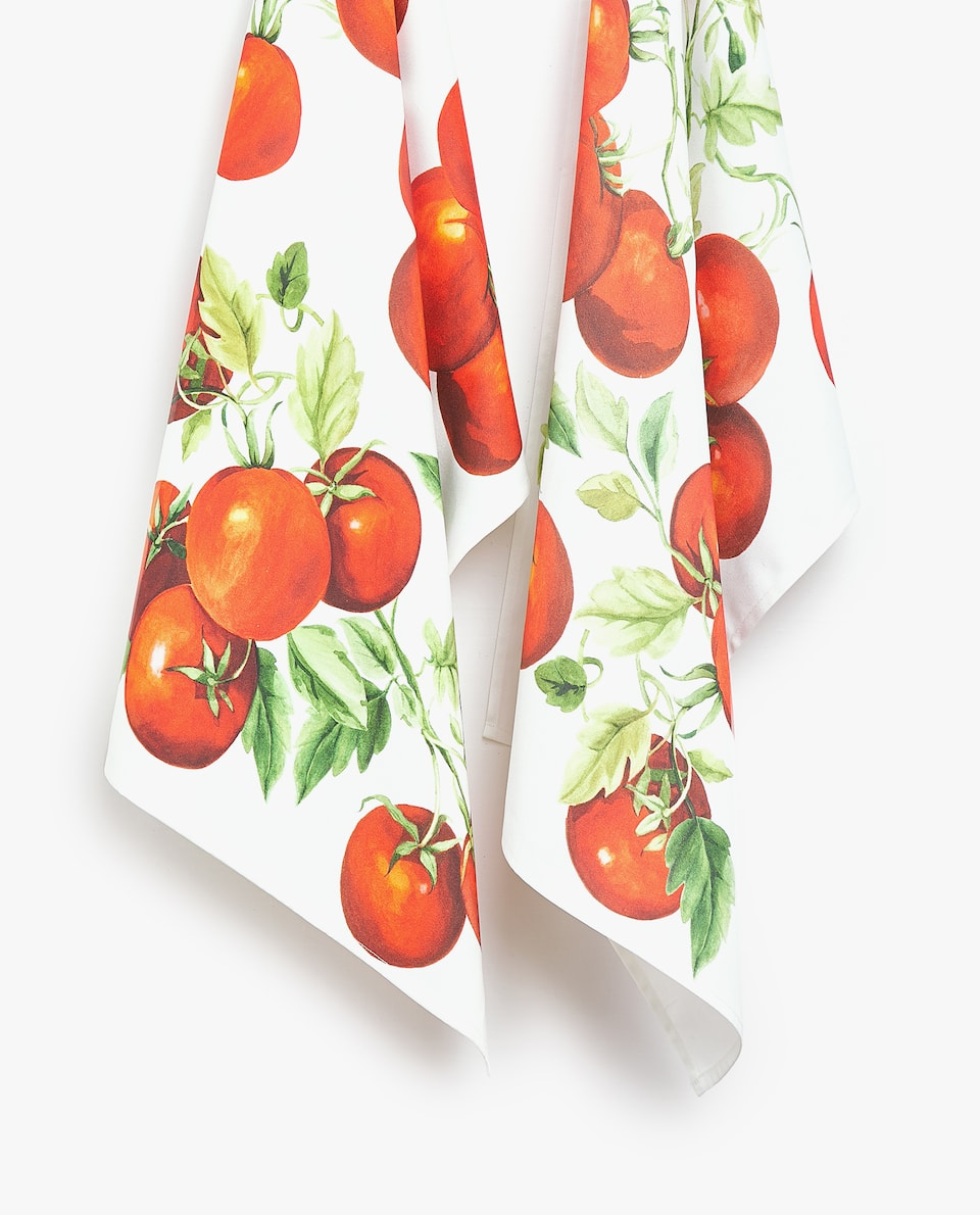 COTTON TEA TOWEL WITH TOMATO PRINT (PACK OF 2)