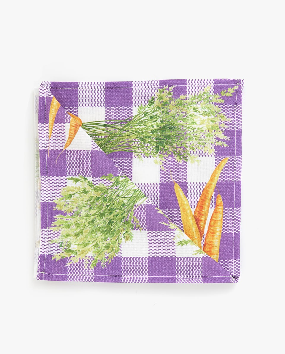 GINGHAM CHECK AND CARROT PRINT NAPKIN (PACK OF 4)