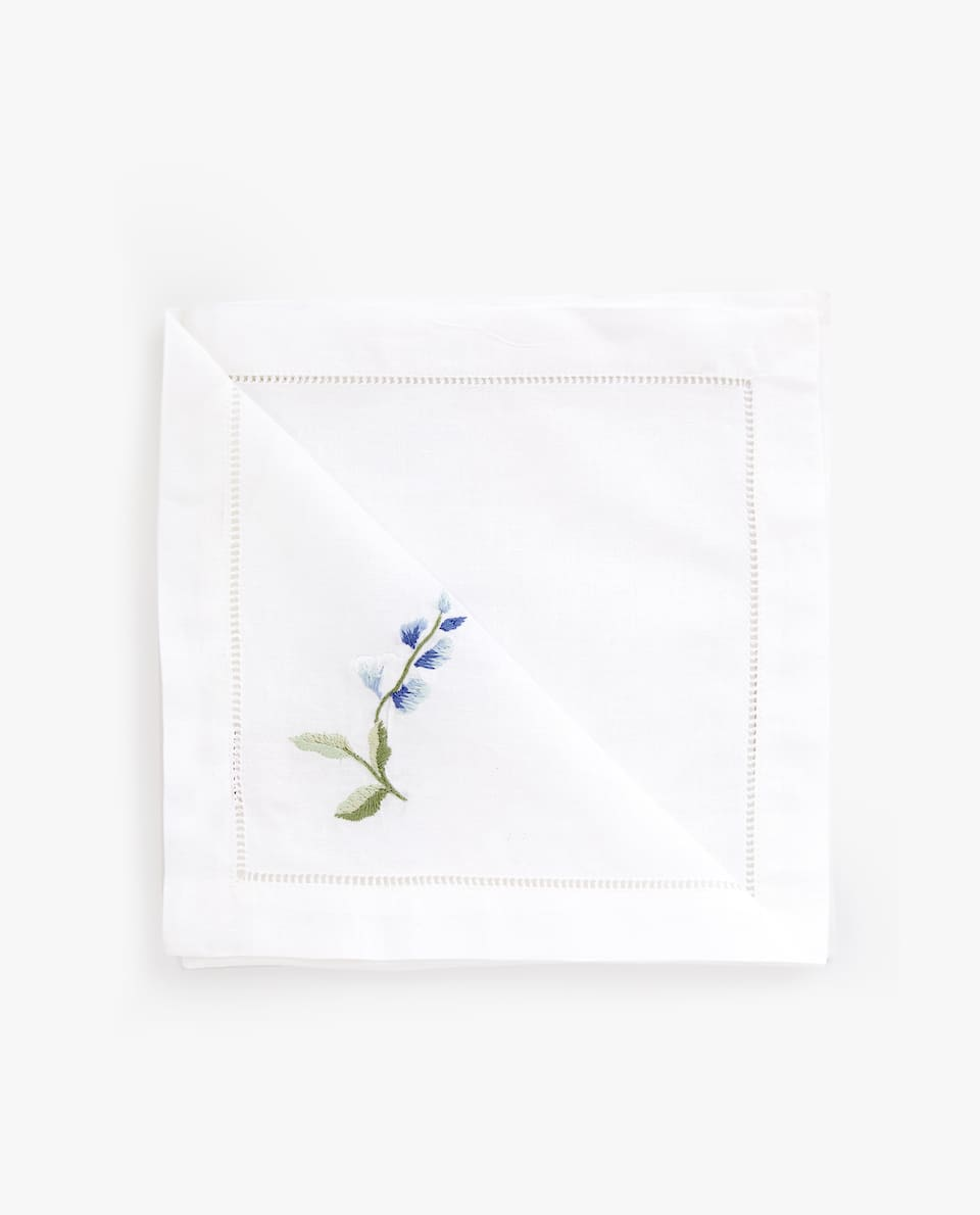EMBROIDERED FLOWER NAPKIN (PACK OF 4)