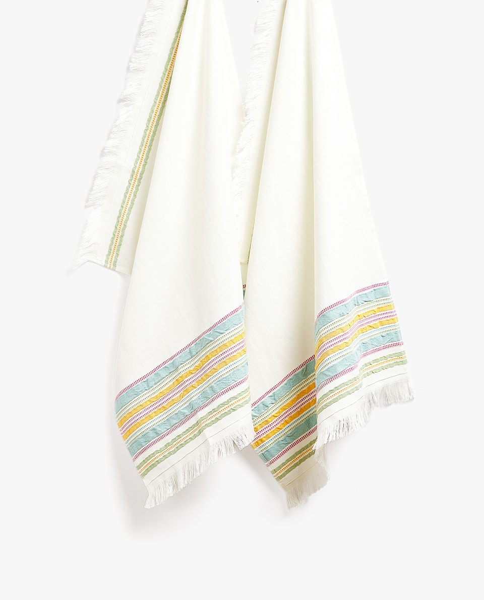 COTTON TEA TOWEL WITH FRINGING (PACK OF 2)