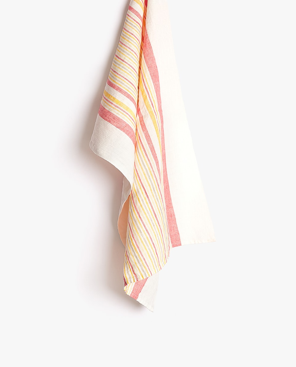 STRIPED WASHED LINEN TEA TOWEL