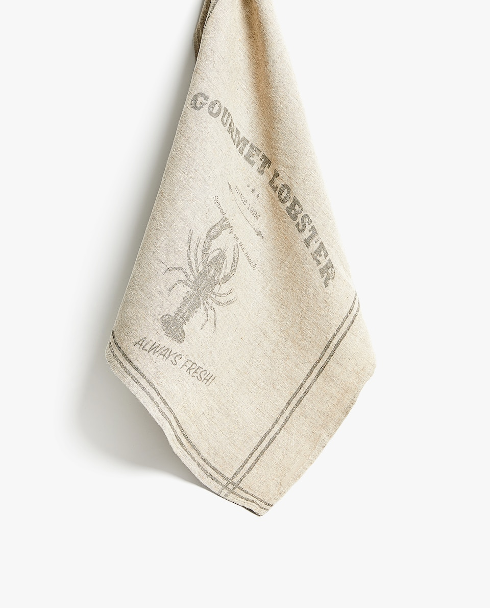 LOBSTER WASHED LINEN TEA TOWEL