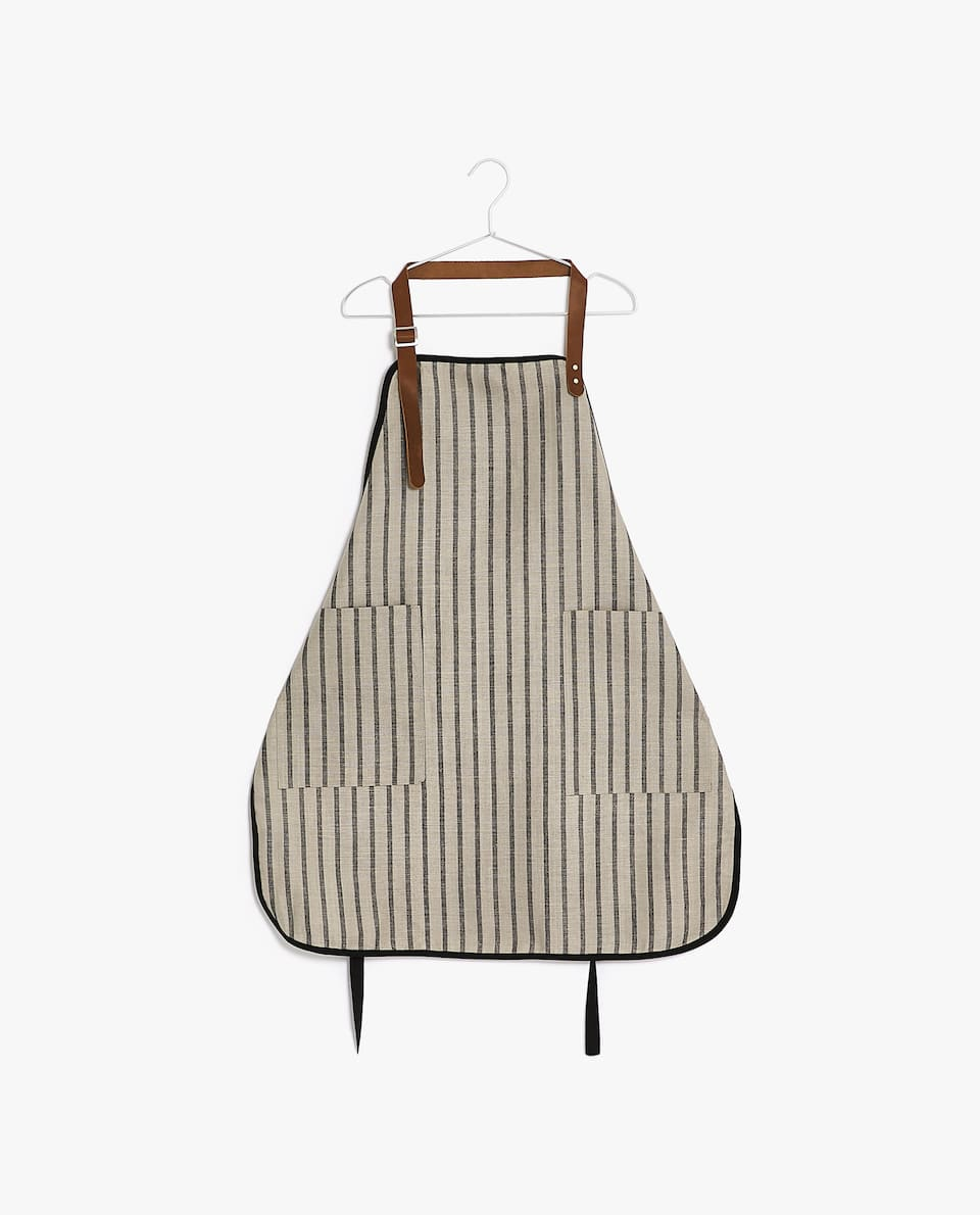 LINEN APRON WITH LEATHER STRINGS
