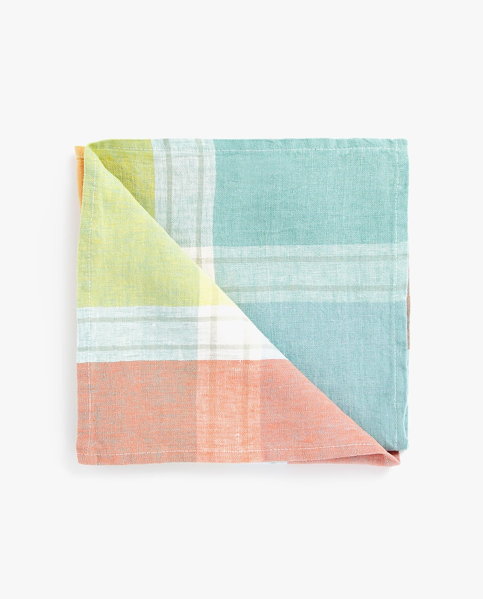CHECKED LINEN NAPKIN (PACK OF 4)