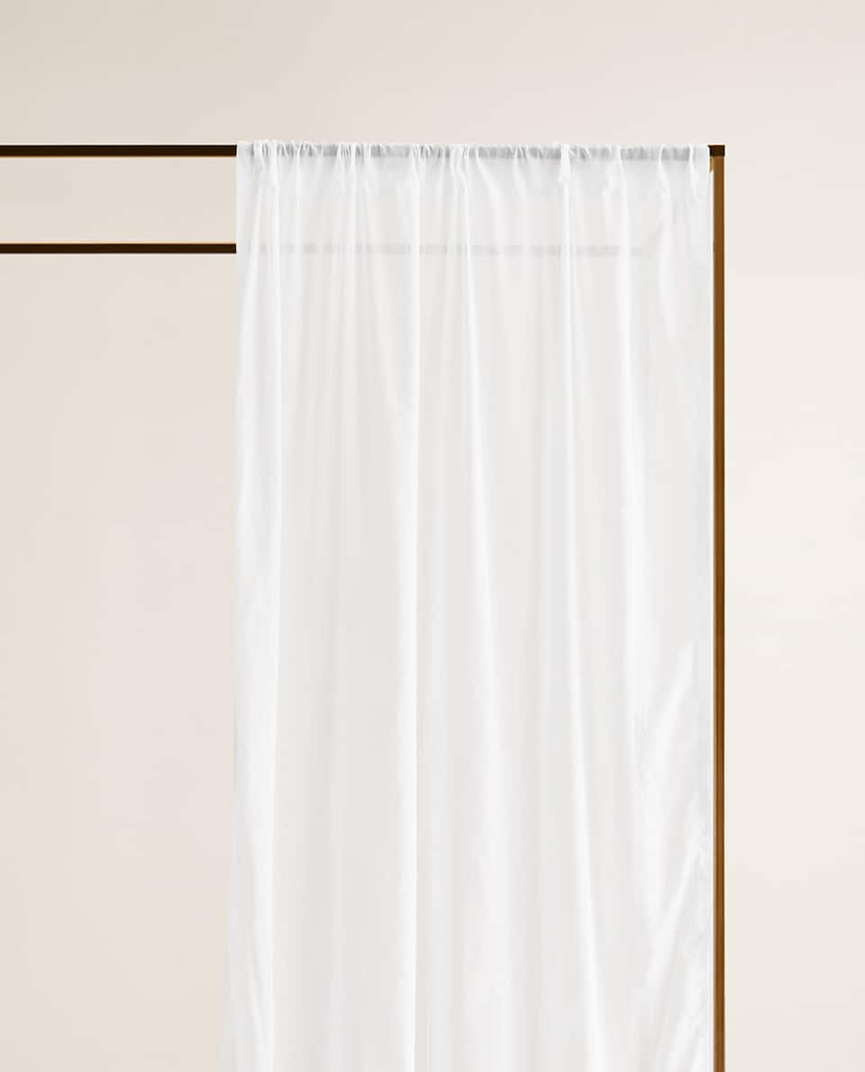WHITE SHEER COTTON CURTAIN