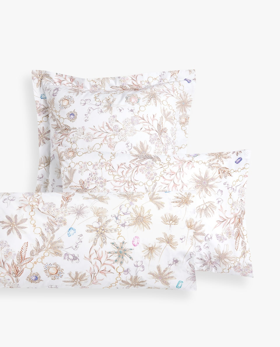 BEJEWELLED FLORAL PRINT PILLOWCASE