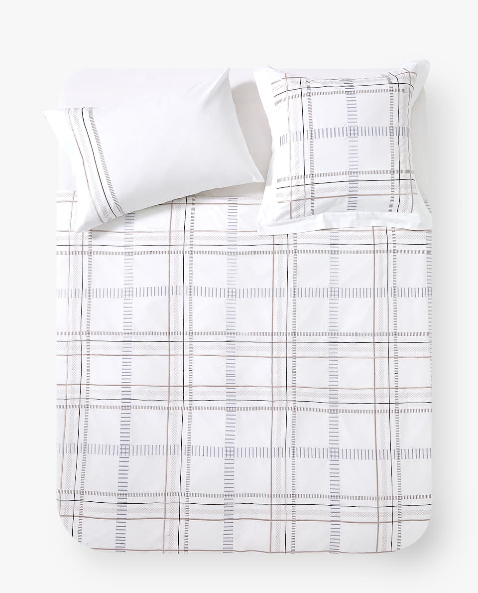 EMBROIDERED CHECK DUVET COVER